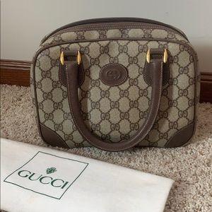 Vintage Gucci Top Handle Handbag GG Canvas Leather